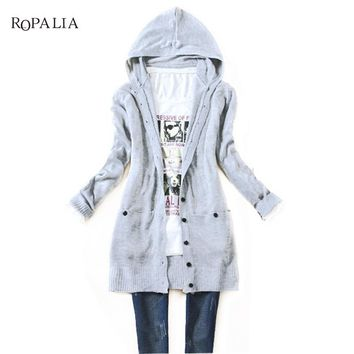 Fashion Hooded Cardigan Long Sleeve Knitted Women Jumper Winter Sweater Female Coat Soft Casual Sweater Pull Outerwear