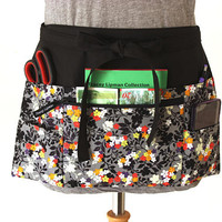 Teacher Apron - half apron - Waitress apron - Vendor apron - zipper pocket - utility apron - waist apron - money apron - craft show apron
