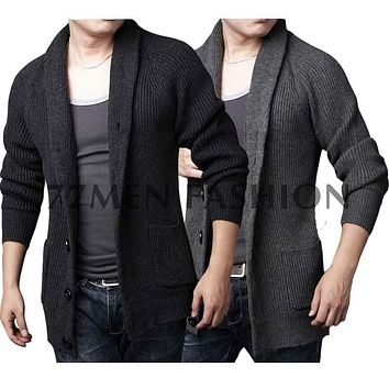 Korean Button Placket Thick Warm Winter Male Chunky Knit Coat Men Cardigan Sweater Shawl Collar Grey