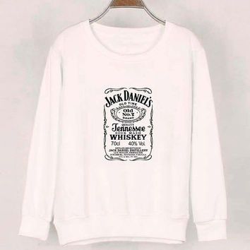 jack daniels sweater White Sweatshirt Crewneck Men or Women for Unisex Size with variant colour