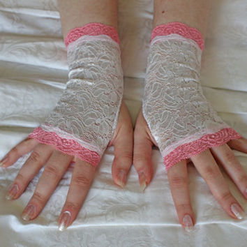 White-pink short cute wedding floral fingerless gloves