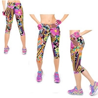 Yomsong Capri Women Leggings High Waisted Floral Printing Yoga Pants Lady's Finess Workout Casual Pants Gym = 5697928193