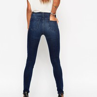 ASOS PETITE Ridley High Waist Ultra Skinny Jeans in Drew Dark Wash