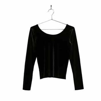 Women backless velvet shirts stretchy basic vintage long sleeve o neck blouse ladies casual fashion tops blusas LT1432