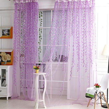 Newest Factory Price Room Willow Pattern Voile Window Curtain Sheer Panel Drapes Scarfs Curtain Don't Wash