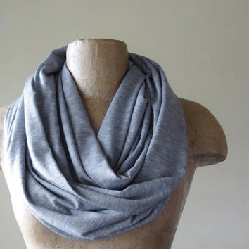 Grey Infinity Scarf  Handmade Heather Gray Infinity by EcoShag