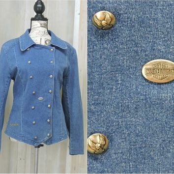 Womens Harley shirt / size L / Harley Davidson denim shirt / military style double breasted / Harley jean shirt / ladies biker shirt