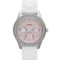 Fossil ES2989 Women's Pink Dial White Silicon Rubber Strap Crystal Watch