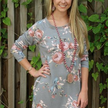 Fine Place to Start Floral Sweater Dress in Grey
