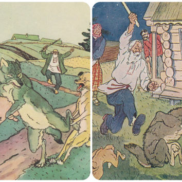 The Dog and the Wolf, Russian Folk Tale. Illustrations by V. Tikhanovich. Set of 2 Vintage Postcards -- 1955, 1961