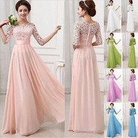 Long Maxi Boho Women's Chiffon Evening Party Formal Bridesmaid Prom Gown Dress