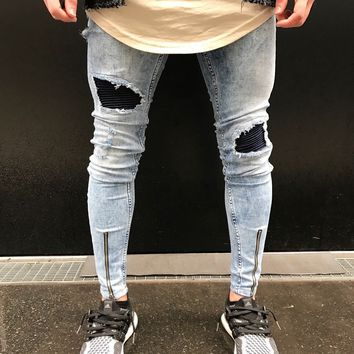 Men's elastic denim Skinny jeans new fashion design hip-hop Streetwear knee biker wrinkled hole Ripped motorcycle jeans trousers