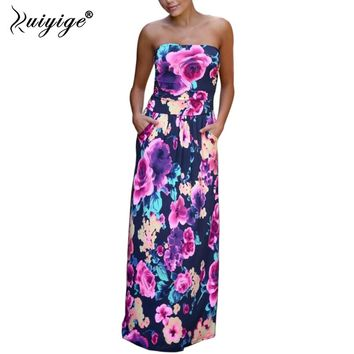 RUIYIGE Woman Fashion Boho Maxi floral Print Dresses ladies sexy strapless Summer Sundress party Vestidos Beachwear robes