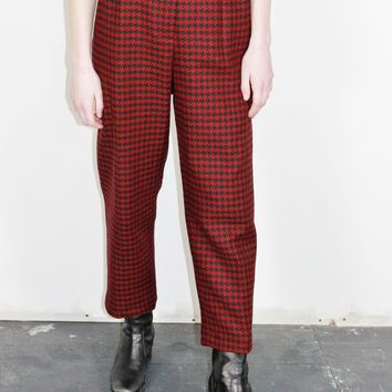 Houndstooth Wool Trousers  / L 32 Inch Waist