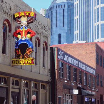 Architectural Photography, Nashville Tennessee Photo, Johnny Cash Museum, Art Print Photograph, Country Music, Downtown City, Blue, Brown