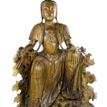 Seated Quan Yin - a Hand Carved Statue in Suar Wood
