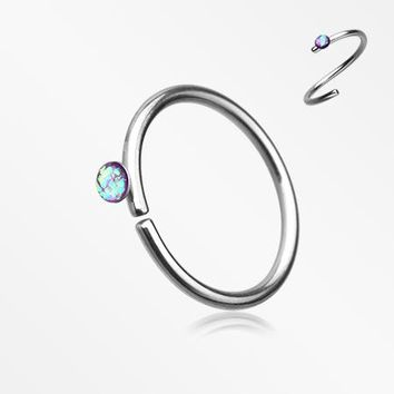 Opal Sparkle Bendable Steel Nose Hoop