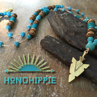 Native American arrowhead necklace, boho hippie jewelry
