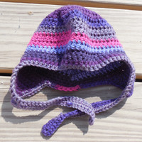 Crochet Baby Hat, Baby (3 -9 months),  Baby Ear Flap Hat, Crochet Ear Flap Hat, Purple, Raspberry and Grey