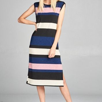 1d8db68a1a9 Striped Color Block Midi Dress With Side Slits in Mauve Denim