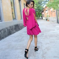 Bqueen Sexy Halter Hollow Chiffon Pink Dress FQ204F - Designer Shoes|Bqueenshoes.com
