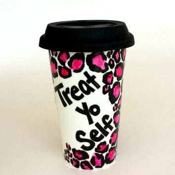 Ceramic Travel Mug Treat Yo Self Hand Painted Leopard Animal Print Pink Black White Cheetah Porcelain Tumbler - MADE TO ORDER