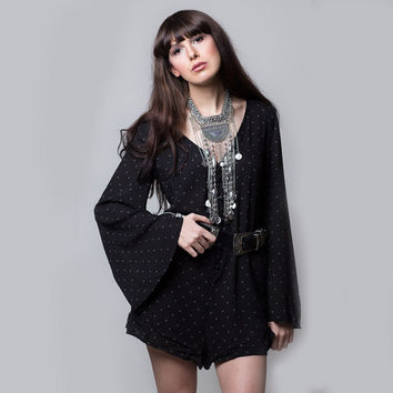 black bell sleeve dress, bell sleeve romper, boho romper, bohemian dress, hipster, chic, bell sleeve dress,