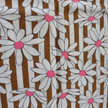 1960s FLOWER POWER COTTON Fabric/Vintage Cotton Pink n White Daisy/Brown n White Stri Horizontal Stripes/Really Retro Fabric/Good 4 Projects