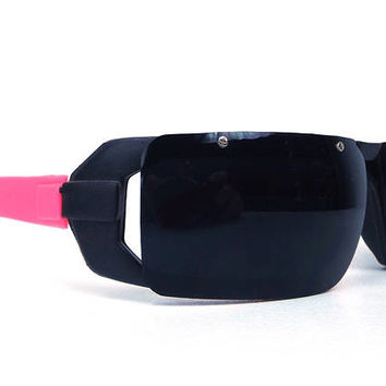vintage 80s deadstock square wrap around sunglasses frame plastic sun glasses retro modern rectangular blades razors black hot pink men 154