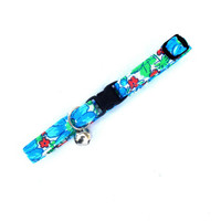 Summer Flowers Cat Breakaway Collar - Blue Wildflowers Collar Feline Kitty