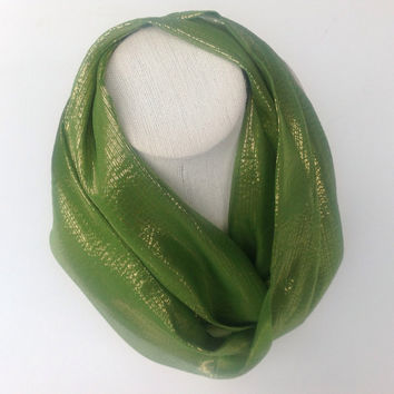 Green Eternity SILK Scarf, Bright neon green infinity neck scarf, Green holiday Gold iridescent silk, Circle scarf, Winter fashion scarf