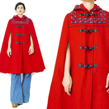 Vintage Red Wool Cape Hooded Cape Bright Red Coat Toggle Buttons Aztec Geo Print Draped Cloak Winter Little Red Riding Hood Coat (XS/S/M)