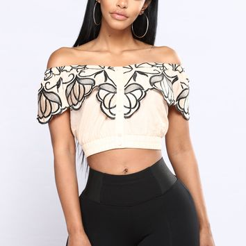 Mon Amie Off Shoulder Top - Peach