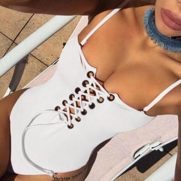 White Lace-up Strap One Piece Swimsuit