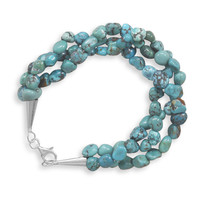 "7.5"" Triple Strand Turquoise Nugget Bracelet"