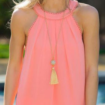 Pink Fashion Open Back  Tank T-shirt