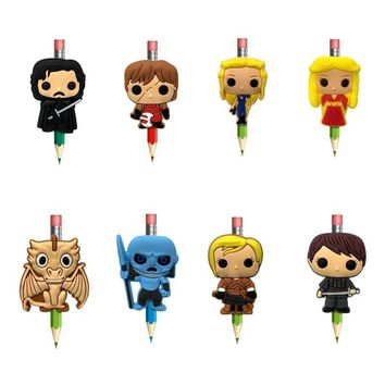 8pcs/lot Game of Thrones Cartoon PVC Pencil Topper Pen Cover Pencil Caps Stationery Set School/Office Supplies Kid Gift