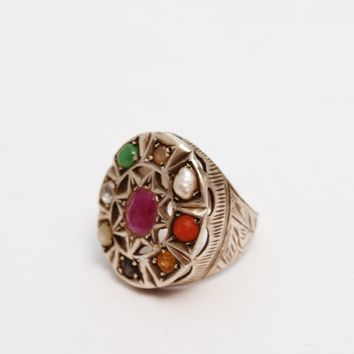 Vintage Middle East Multi Gem Silver Ring