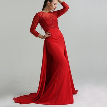 2018 Red Newest Beading Mermaid Evening Dresses Long Sleeves Fashion Elegant Sexy Formal Evening Gown LA6275