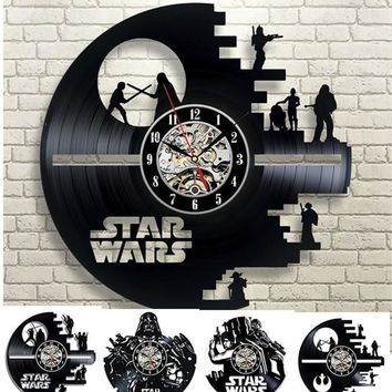 Star Wars Force Episode 1 2 3 4 5 Vinyl Record Design Wall Clock Fashion Creative Clock CD Vinyl Disc Wall Clock Movie  Themed Home Decor 3D Hanging Watc AT_72_6