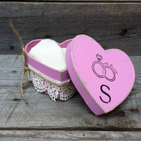 Pink Rustic Ring Bearer Heart Shaped Pillow Box, Rustic Ring Bearer Pillow Alternative, Wedding Ring Holder, Personalized Ring Box