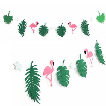 Flamingo And Cocunut Leaves Garland Beach Banner Summer Party Garland Birthday Tropical Luau Pool Hawaiian Party Flamingle Decor
