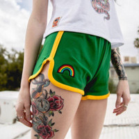 Green 70s High Waisted Track Shorts with rainbow patch | kelly green and gold jogging running 1970s true vintage basketball gym shorts 80s