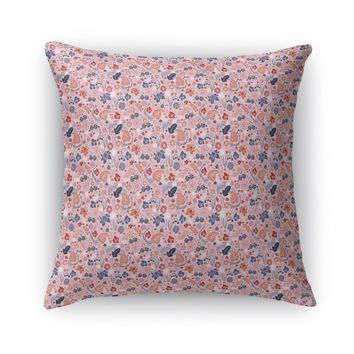SPRING FIELDS, PINK, BLUE, ORANGE Accent Pillow By Heidi Miller