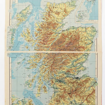 1951 Scotland Map, Large Vintage Map of  Scotland, old map, Conical Orthomorphic Projection map