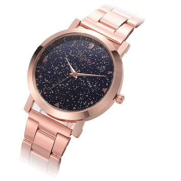 Rose Gold Stainless Steel Fashion Ladies Wristwatch
