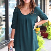 Starlight Roll Up Sleeve Tunic {Sea Green}