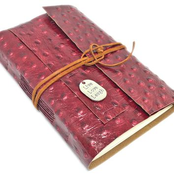 Leather Journal with Blank Paper, Burgundy Ostrich Embossed Travel Journal, Leather Journal, Live Laugh Love charm, Bookmark, Notebook