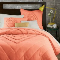 Ruffled + Ruched Quilt, King, Peach Rose