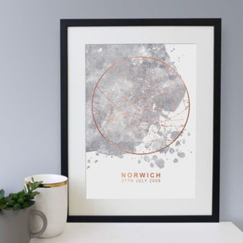 Grey Blot Rose Gold Foil Personalised Star Map Print